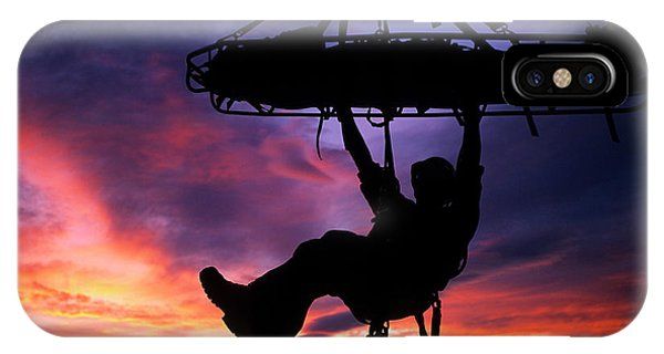 Barbara Steele iPhone Case - Search And Rescue Climber Hanging by Kevin Steele
