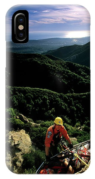 Barbara Steele iPhone Case - Search And Rescue Climber Tending Body by Kevin Steele