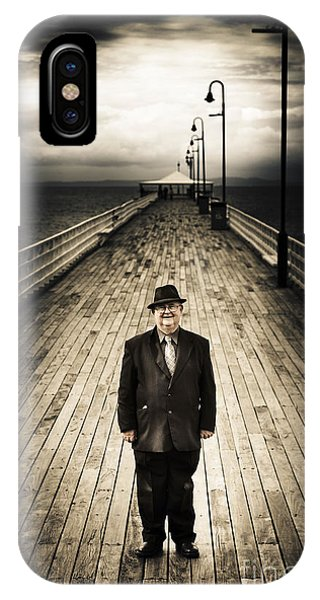 Senior Male Standing On A Pier Promenade IPhone Case