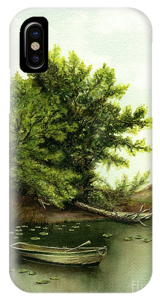 Serene Solitude Boat And Trees IPhone Case