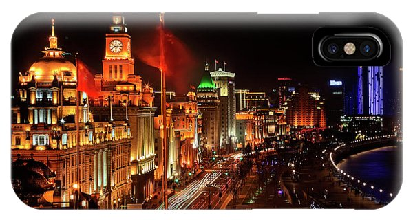 Shanghai, China Bund At Night Cars Phone Case by William Perry