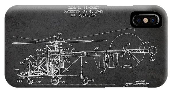 Helicopter iPhone Case - Sikorsky Helicopter Patent Drawing From 1943 by Aged Pixel