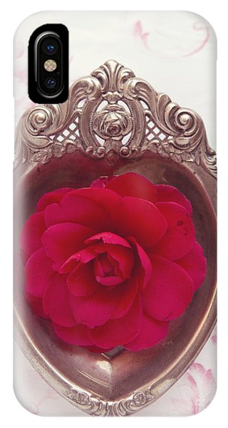 Silver Heart - Red Camellia IPhone Case