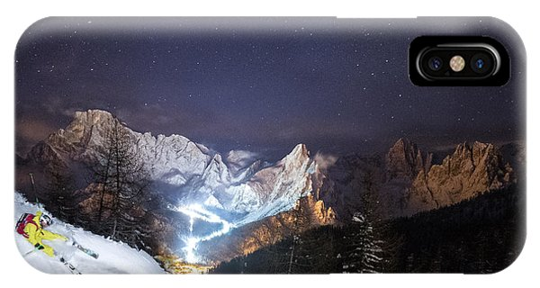 Skier Riding Down A Powder Slope At Night Phone Case by Leander Nardin