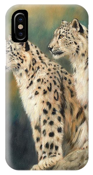 Snow Leopard iPhone Case - Snow Leopards by David Stribbling