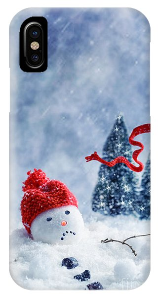 Knit Hat iPhone Case - Snowman  by Amanda Elwell