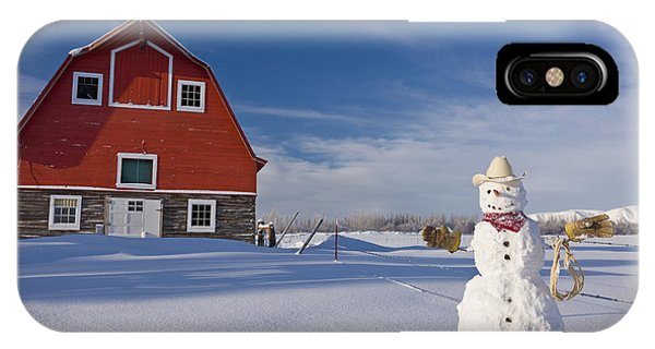 Winter iPhone Case - Snowman Dressed Up As A Cowboy Standing by Kevin Smith