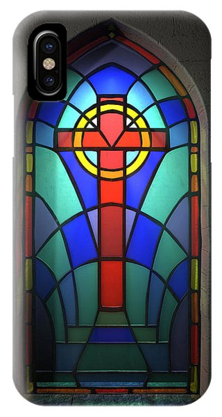 Worship iPhone Case - Stained Glass Window Crucifix by Allan Swart