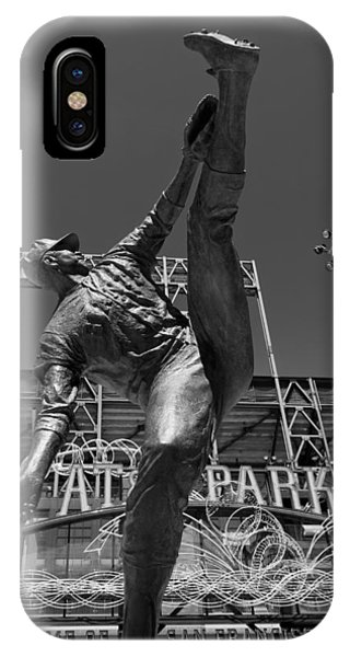 Baseball Hall Of Fame iPhone Case - Statue Of Juan Marichal Outside Atandt Park San Francisco by Mountain Dreams