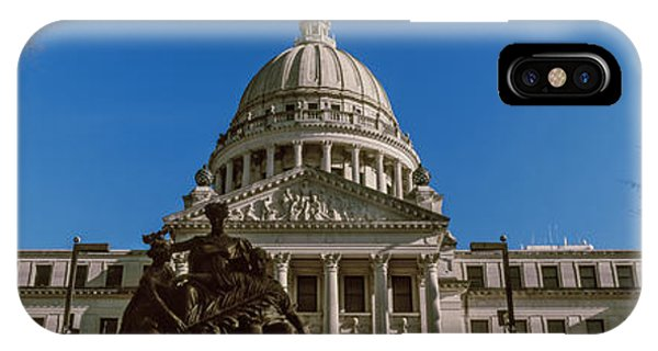 Capitol Building iPhone Case - Statue Outside A Government Building by Panoramic Images