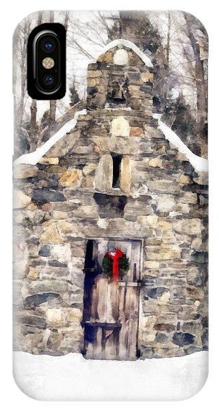 The Nature Center iPhone Case - Stone Chapel In The Woods Trapp Family Lodge Stowe Vermont by Edward Fielding