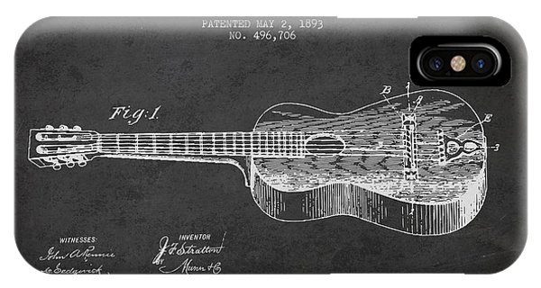 Guitar iPhone Case - Stratton Guitar Patent Drawing From 1893 by Aged Pixel