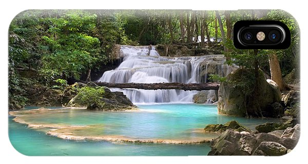 Stream With Waterfall In Tropical Forest IPhone Case