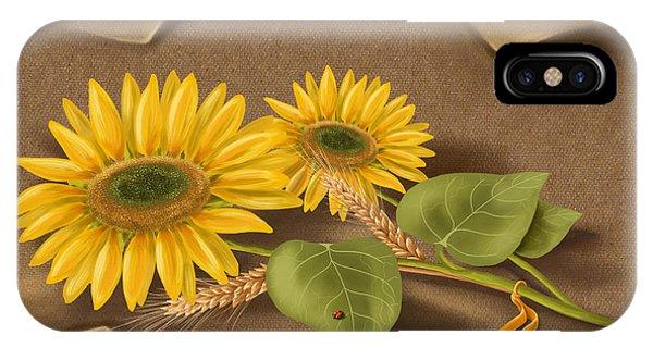 Ladybug iPhone Case - Sunflowers by Veronica Minozzi