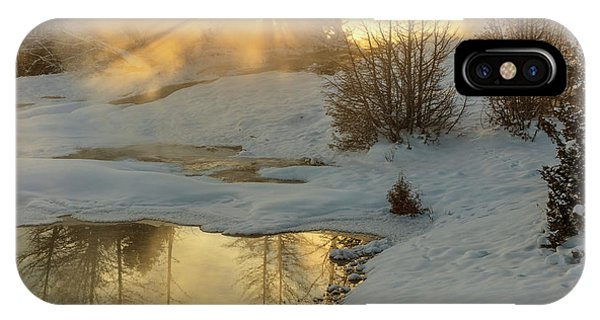 Mammoth Hot Springs iPhone Case - Sunrise Over Grassy Spring, Mammoth Hot by Chuck Haney