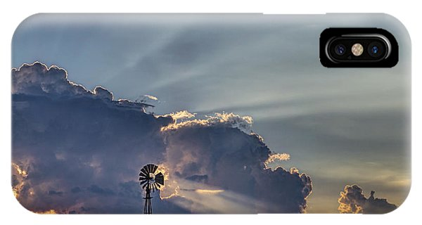 Sunset And Windmill IPhone Case