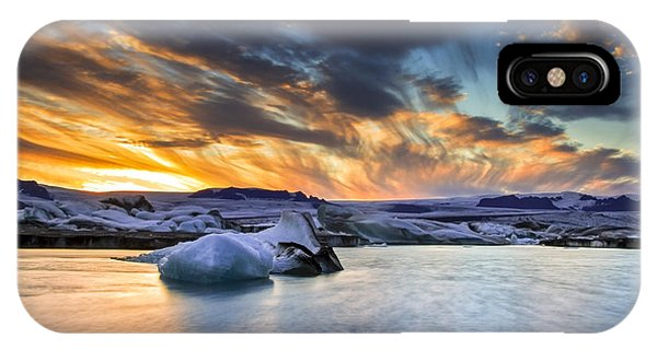 sunset at Jokulsarlon iceland IPhone Case