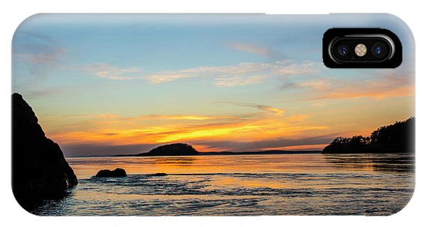 Whidbey iPhone Case - Sunset From North Beach With Deception by Chuck Haney