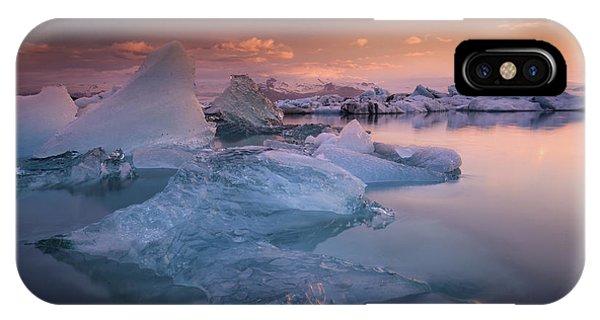 Glacier Bay iPhone Case - Sunset Over Glacier Bay In Iceland by Keith Ladzinski