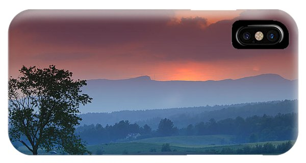 England iPhone Case - Sunset Over Mt. Mansfield In Stowe Vermont by Don Landwehrle