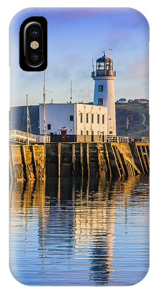 IPhone Case featuring the photograph Sunset Over Scarborough Lighthouse by Susan Leonard
