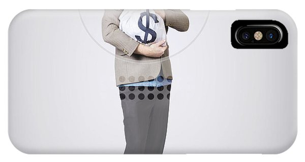 Finance iPhone Case - Surprised Business Man Holding Money Bag In Bank by Jorgo Photography - Wall Art Gallery