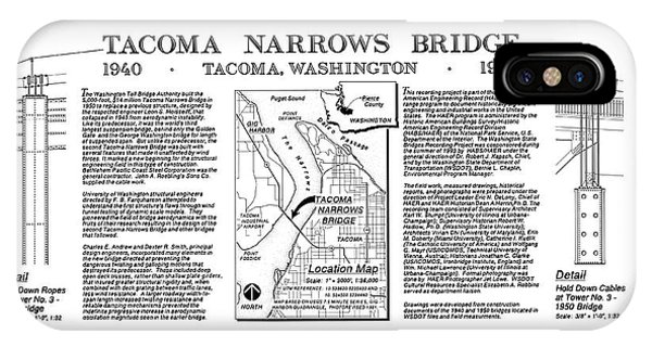 Tacoma Narrows Bridges Compared Phone Case by Library Of Congress/science Photo Library