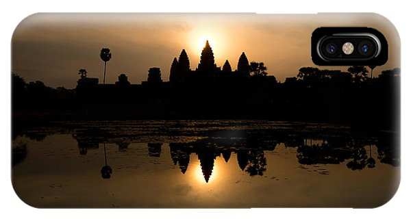 Angkor Thom iPhone Case - Temple At The Lakeside, Angkor Wat by Panoramic Images