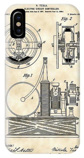 Tesla Electric Circuit Controller Patent 1897 - Vintage IPhone Case