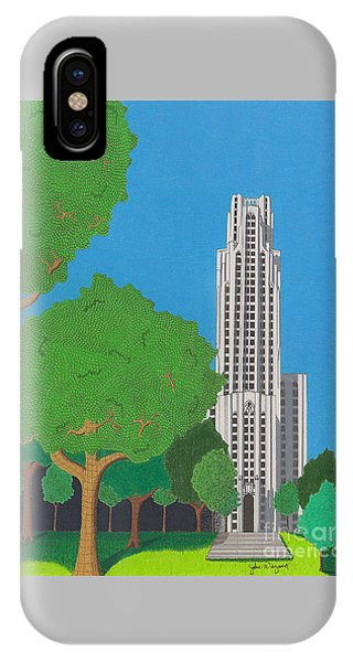 IPhone Case featuring the drawing The Cathedral Of Learning by John Wiegand