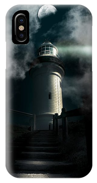 Navigation iPhone Case - The Dark Atmospheric Lighthouse by Jorgo Photography - Wall Art Gallery