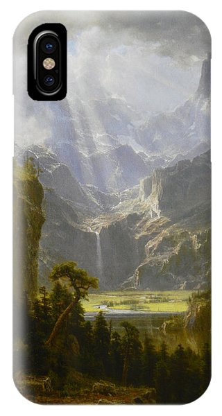 IPhone Case featuring the painting The Rocky Mountains Lander's Peak by Celestial Images