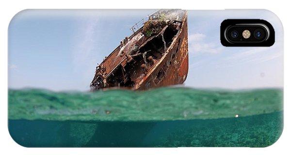 Skipjack iPhone Case - The Wreck Of Skipjack II In The Maldives by Scubazoo
