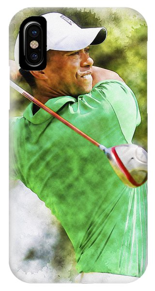Tiger Woods Hits A Drive  IPhone Case
