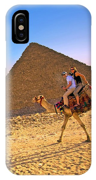 East Africa iPhone Case - Tourists Ride A Camel In Front by Miva Stock