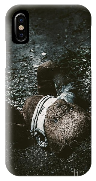 Toy Teddy Bear Lying Abandoned In A Dark Forest IPhone Case
