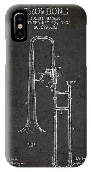 Trombone iPhone Case - Trombone Patent From 1902 - Dark by Aged Pixel