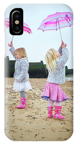 Two Girls On Beach Holding Umbrellas Phone Case by Ruth Jenkinson
