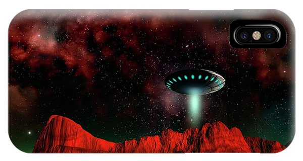 Ufo Over An Alien Planet Phone Case by Mehau Kulyk/science Photo Library
