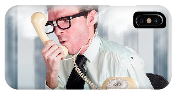 Behaviour iPhone Case - Unhappy Nerd Businessman Yelling Down Retro Phone by Jorgo Photography - Wall Art Gallery