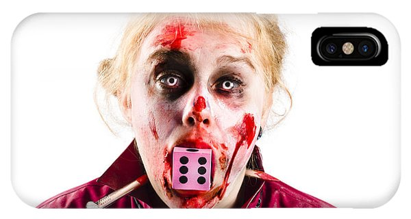 Ghastly iPhone Case - Unlucky Woman With Dice In Mouth by Jorgo Photography - Wall Art Gallery
