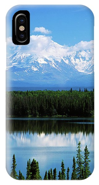 Usa, Alaska, Willow Lake And Mt IPhone Case