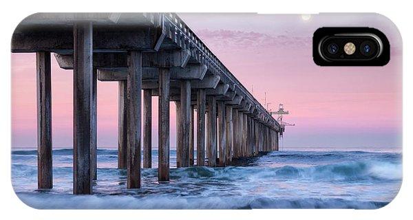 Scripps Pier iPhone Case - Usa, California, La Jolla, Full Moon by Ann Collins