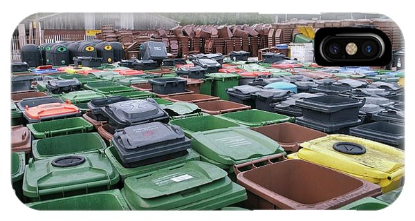 Rubbish Bin iPhone Case - Used And Damaged Wheelie Bins In Compound by Robert Brook/science Photo Library
