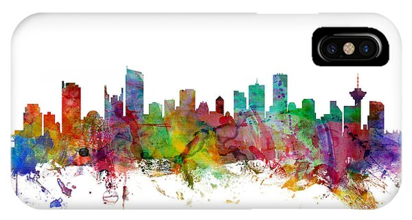 Vancouver City iPhone Case - Vancouver Canada Skyline by Michael Tompsett