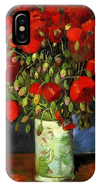 Vase With Red Poppies IPhone Case