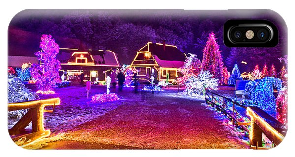Village In Colorful Christmas Lights  IPhone Case