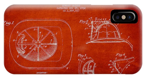 Patent Drawing iPhone Case - Vintage Firefighter Helmet Patent Drawing From 1932 by Aged Pixel