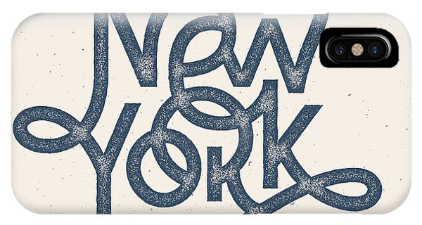 Vintage Hand Lettered Textured New York Phone Case by Tortuga