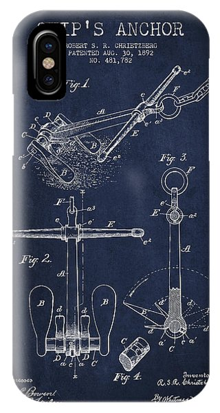 Vintage Ship Anchor Patent From 1892 IPhone Case